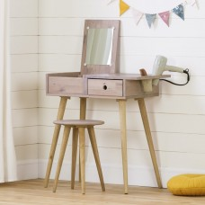 South Shore - Sweedi - Ensemble coiffeuse et tabouret en bois massif - Rose