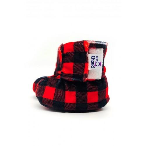 Bébé Ô Chaud - Pantoufles à velcro – Carreauté Rouge/Noir
