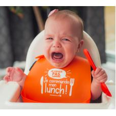 Bédaine Love - Bavette en silicone - Orange - Je ne chiales pas, je commande mon lunch!