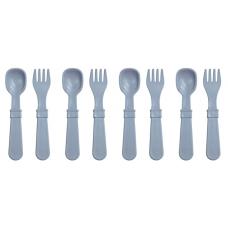 Re-Play - Ensemble de 4 fourchettes et 4 cuillères en plastique recyclé - Gris