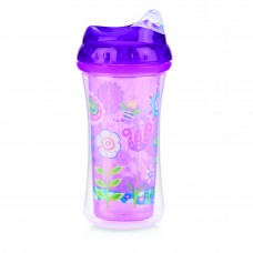 Nuby - Gobelet Isotherme No-Spill™ Clik-it™ Cool Sipper™ 300mL - 18m+ - Jardin (Rose/Violet) - 5310097