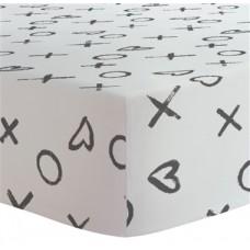 Kushies - Drap contour pour matelas à langer arqué - XO Noir et Blanc