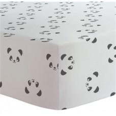Kushies - Drap contour pour matelas à langer arqué - Panda Noir et Blanc