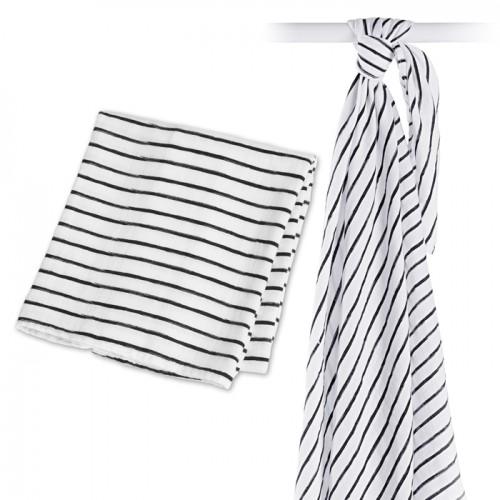 Lulujo - Mousseline de bamboo - Collection Moderne - Black Messy Stripe