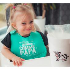 Bédaine Love - Bavette en silicone - Turquoise - Marre du lait, je veux boire comme papa