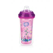 Nuby - Gobelet Isotherme No-Spill™ Clik-it™ Cool Sipper™ 300mL - 6m+ - Jardin (Rose/Violet) - 5310094