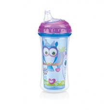 Nuby - Gobelet Isotherme No-Spill™ Clik-it™ Cool Sipper™ 300mL - 6m+ - Hibou (Bleu/Violet) - 5310094