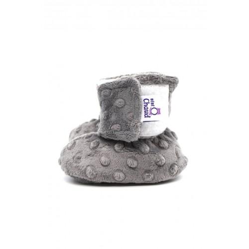 Bébé Ô Chaud - Pantoufles à velcro – Gris