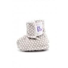 Bébé Ô Chaud - Pantoufles à velcro – Gris à Petits Pois