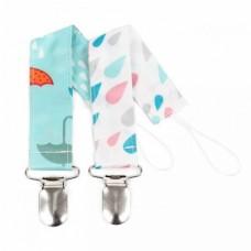 Bumkins - Attache-suce - Gouttes d'eau et parapluies (Paquet de 2)