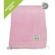 Perlimpinpin - Couverture de tricotée bambou - Rose