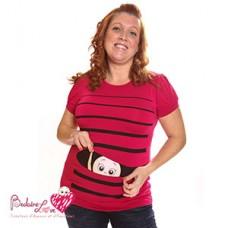 Bédaine Love - T-Shirt humoristique - Bébé coucou rayures - Rouge