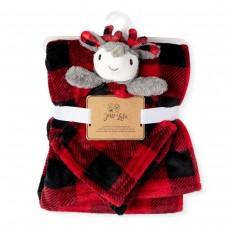 Jesse & Lulu - Couverture en polar et doudou sécurité - Carrelé rouge/noir et renne