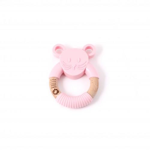 Bulle Bijouterie - Hochet animal – Souris rose