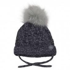 Calikids - Tuque en tricot de coton avec pompon en fausse fourrure - Gris charcoal