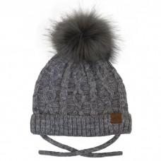 Calikids - Bonnet à pompon en fausse fourrure en tricot de coton - Gris mixte
