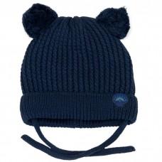 Calikids - Tuque en tricot de coton avec 2 pompons - Marine