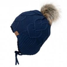 Calikids - Bonnet d'hiver doublé teddy en tricot cœur pour fille - Marine